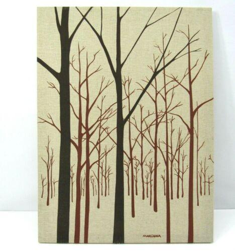 MARUSHKA 1982 Tree Scene 18 X 24 Screenprint Canvas Brown Tan Stamped Retro VTG