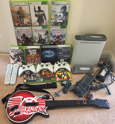 Xbox 360 With Controllers, Remotes, Guitar, Hard Disks And Games ** SALE **