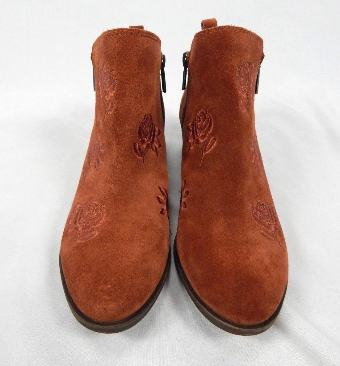 Lucky Brand Women's Red Oak Oiled Suede Basel Embroidery Ankle Booties - 8, 8.5  1