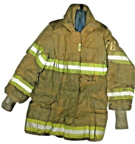 40x35 40T Securitex Firefighter Brown Turnout Jacket Coat with Yellow Tape J890