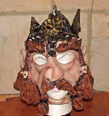 ADULT VIKING WITH HELMET DWARF WARRIOR LATEX MASK HALLOWEEN COSTUME (Viking Halloween Mask)