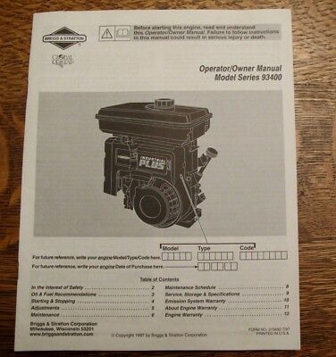 Vintage Briggs Stratton Model Series 93400 Operator Owners Manual Small Engine