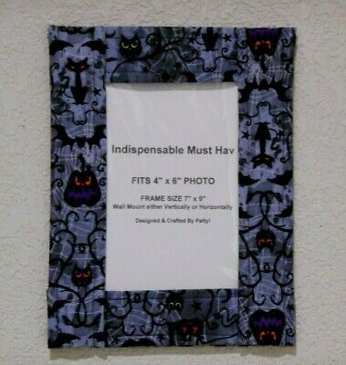 """Designer Picture Frame Fabric Cloth Frame Halloween with Pocket fits 4x6"""" Photo"""