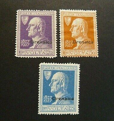 """ITALIA ITALY1927 Colonie CIRENAICA """"A. VOLTA """" 3 Valori Set Completo MNH**"""