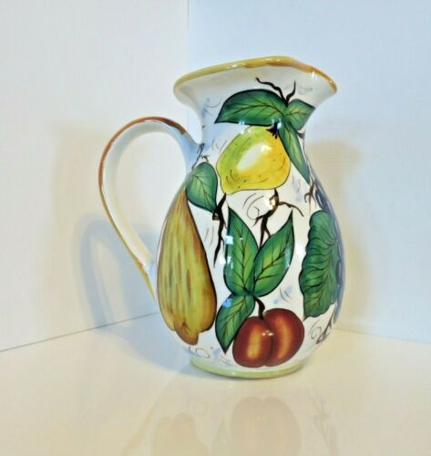 "Water Tea Juice Pitcher Fruit Design Valerio Bella Casa by Ganz 9.5"" Tall"