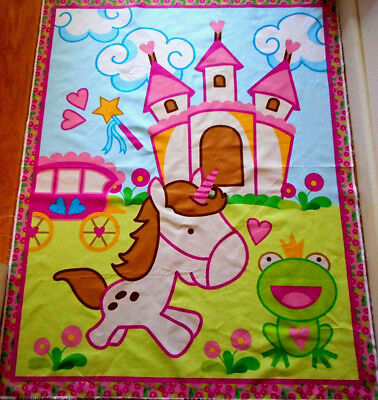 Baby Quilt Fabric Panel Unicorn Frog Castle Wand Carriage Pink Green Blue Cotton Frog Quilting Fabric