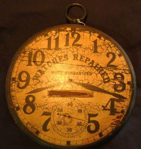 ANTIQUE CLOCK WOOD TRADE SIGN