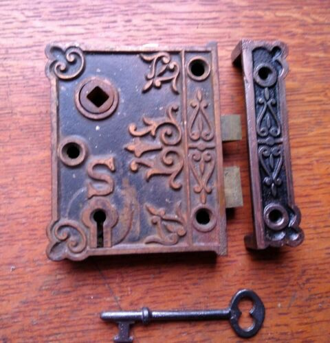 Antique Ornate Rim or Box Lock with Keeper and Key Shapleigh c1885