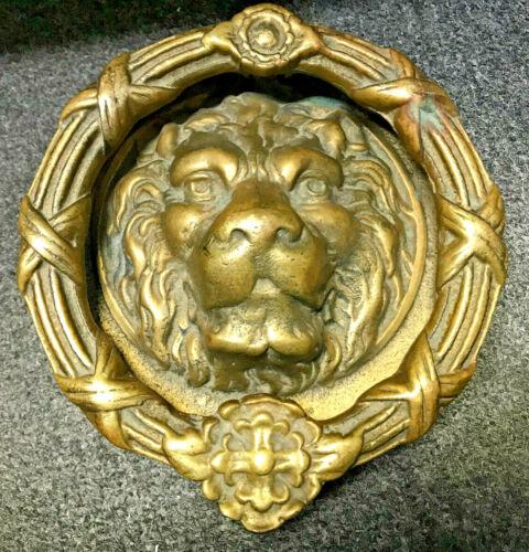 Beautiful!! Antique Large Edwardian Solid Heavy Brass Door Knocker Lion Head