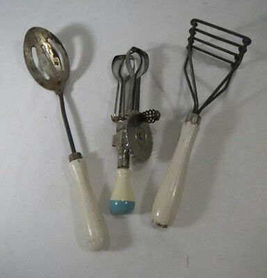 Vintage A&J Children' Toy Kitchen Mixing Tools Masher, Slotted Spoon White Wood