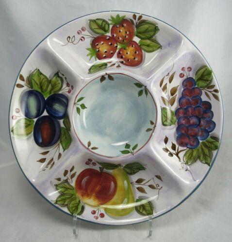 """Heritage Mint Ceramic Black Forest Fruits Chip Dip Divided Serve Dish Bowl 14"""""""