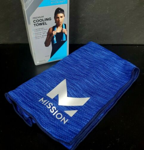 "MISSION~ HydroActive Premium Cooling Towel 10"" x 33"" royal blue space dye (m1"