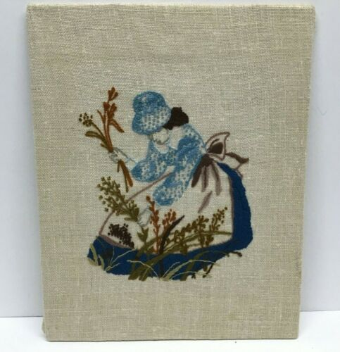 Hand Embroidered Vintage Wall Decor Featuring Lady Picking Flowers