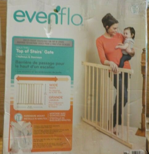 Evenflo, Top of Stairs, Extra Tall Gate, Tan Wood