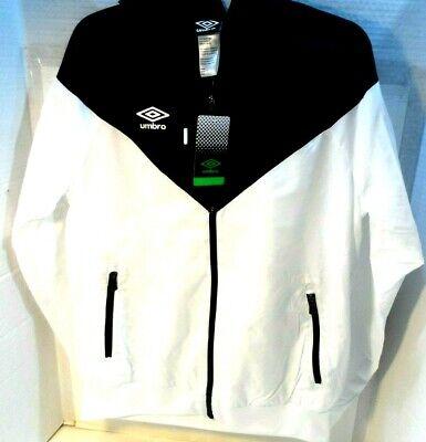 Umbro Windbreaker Jacket Hoodie Black White Colorblock Full Zip Mens Large NEW