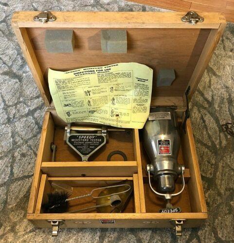 Vintage Thomas Ashworth SPEEDY MOISTURE TESTER With Scale Tank & Gauge Wood Case