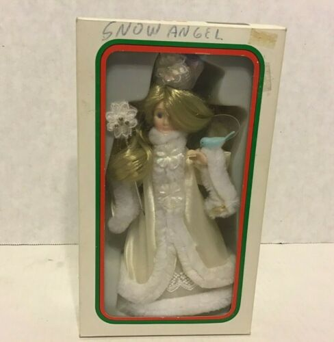 Vintage Kurt Adler Snow Angel Fairy Figure Tree Topper Ornament Blue Bird