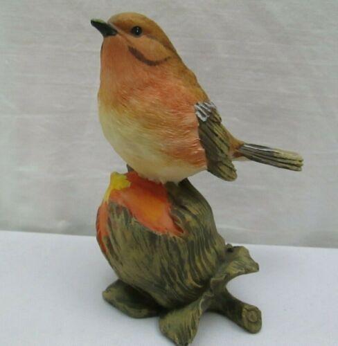 """Vintage Robin Bird On Flower bud 4"""" Resin Figurine Statue"""