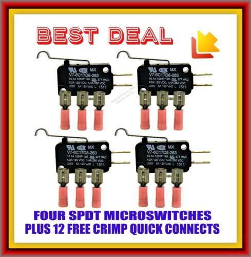 MICRO SWITCH, SERIES-7 SWITCHES, SPDT, SIM ROLLER ARM, FOUR SWITCHES + FREE CONN