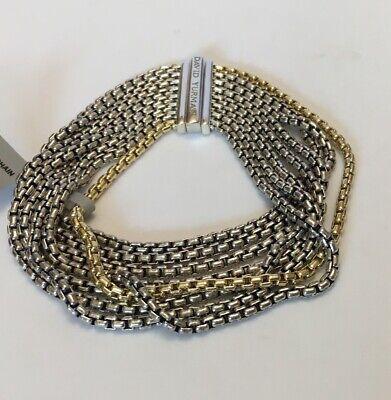 DAVID YURMAN 2.7mm 8 Row Box Chain Sterling Silver &18K Gold Bracelet NWT (David Yurman 8 Row Box Chain Bracelet)