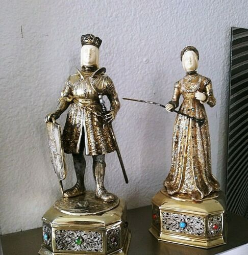 PAIR OF X LARGE ANTIQUE STERLING GILT SILVER JEWELED GERMAN KNIGHT FIGURE