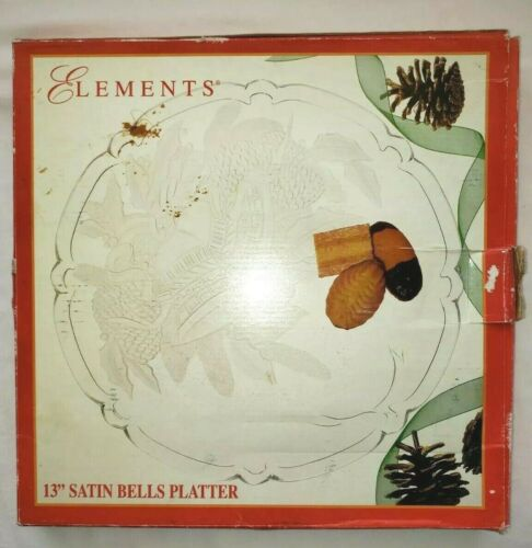 """Vintage 1995 Elements Platter Christmas Holiday 13"""" Clear Glass Bells In Box"""