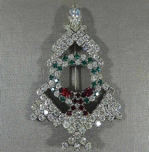 KIRKS FOLLY RARE EARLY VTG CHRISTMAS TREE W WREATH PRONG SET RHINESTONE BROOCH