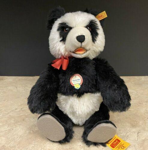 """Steiff Panda-Bar Panda Bear 1938 Replica Mohair Teddy Bear 35cm 14"""" #408311"""