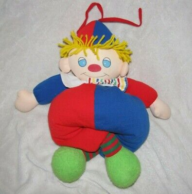Vintage Carters Musical Clown Baby Infant Stuffed Plush Lullaby Crib Pull Toy Clown Musical Pull