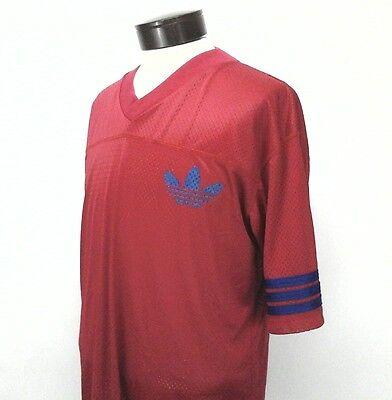 NWT ADIDAS FOOTBALL JERSEY Mens SHIRT Made in USA Red/Blue TREFOIL LOGO Medium M