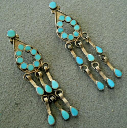 Native American Turquoise Dishta Inlay Sterling Silver Teardrop Dangle Earrings