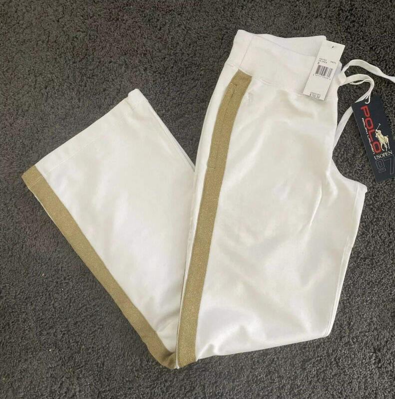 NWT RALPH LAUREN US OPEN Women's White /Gold Stripe Sweat Pant Tennis Size Small