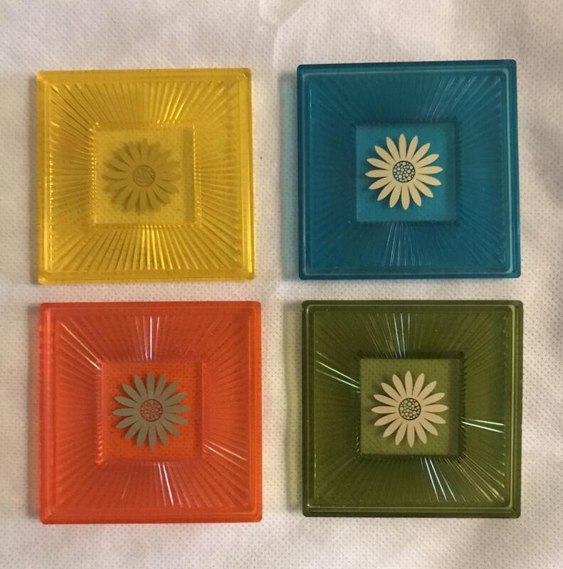 Set Of 4 Vintage 1960's Retro Square Hard Plastic Coasters White Holder Flower