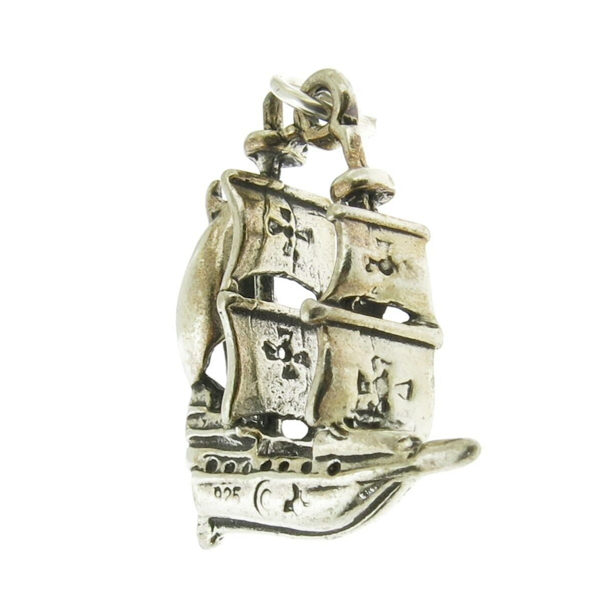 925 Sterling Silver Pirate Ship Charm Made in USA Fine Charms & Charm Bracelets