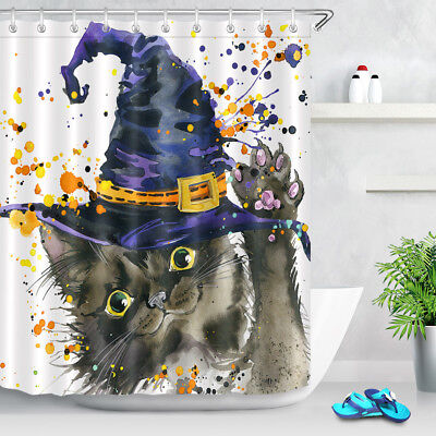 Halloween Bathroom Decor Witch Hat Cat Watercolor Extra Long Shower Curtain - Halloween Bathroom Decor