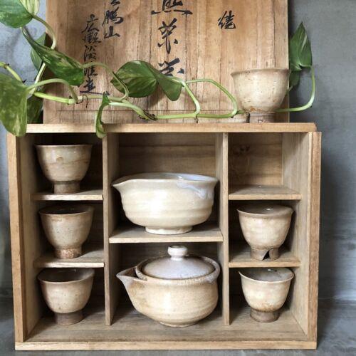 Antique 1924 Japanese HAGI Ware Tea Cup Ceramic Asian Pottery Vintage Original