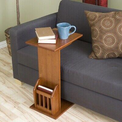 Coffee Tray Table Magazine Storage Rack Oak Finish Snack Stand Sofa Furniture