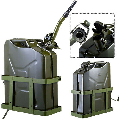 5 Gallon 20l Gas Can Fuel Steel Tank Military Green With Solid Metal Holder New