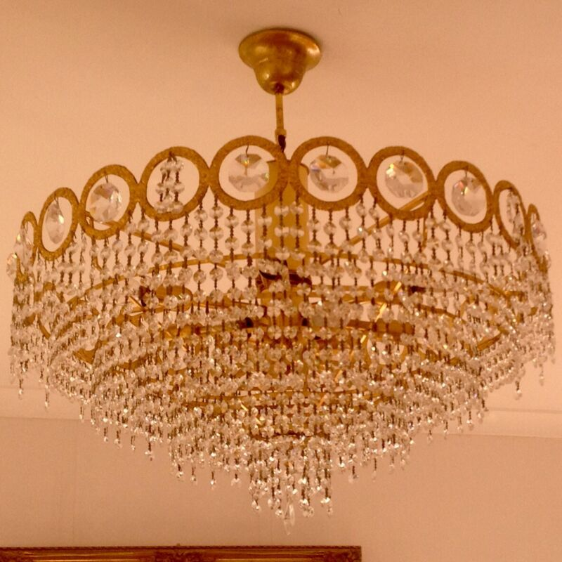 Vintage Real Crystal Brass Chandelier  D 65 cm, H 55 cm, 12 bulbs