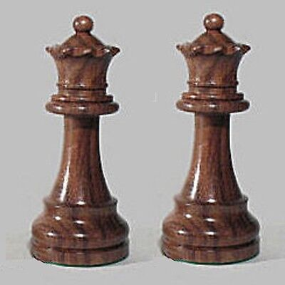 "Drueke Rosewood Chess Pieces Two Extra Large 4"" Queens Double Weighted Queens"