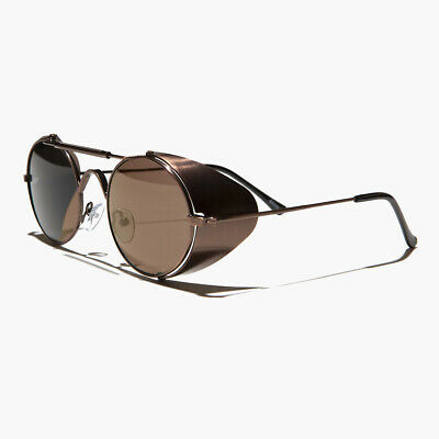 Copper Steampunk Sunglass with Folding Side Shields Brown Lens - Bram (Sunglasses With Side Lenses)