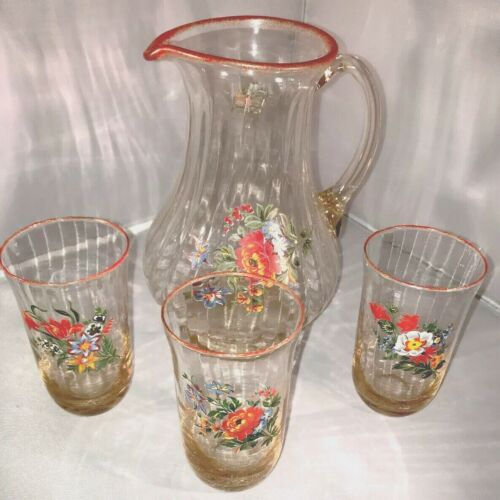 Vintage Antique Hand Painted Pitcher And Glasses