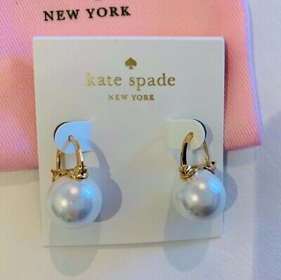 """Kate Spade New York, Pearl & Gold, hanging, """"Shine On"""" Earrings, round"""