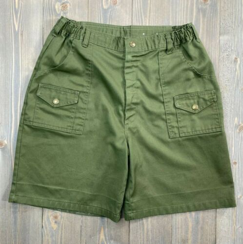 Vintage Boy Scouts Green Cargo Shorts Size 22 ( Waist measures 28-32 Inches) USA