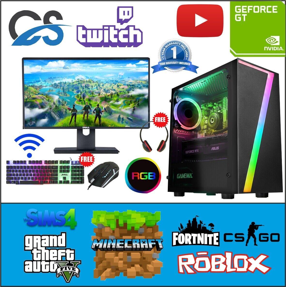 Computer Games - Fast Gaming PC Computer Bundle Intel Quad Core i5 16GB 1TB 2GB GT710 Windows 10