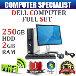 FULL COMPLETE DELL DESKTOP TOWER PC SET FAST COMPUTER SYSTEM & 17'' TFT 250GB HD