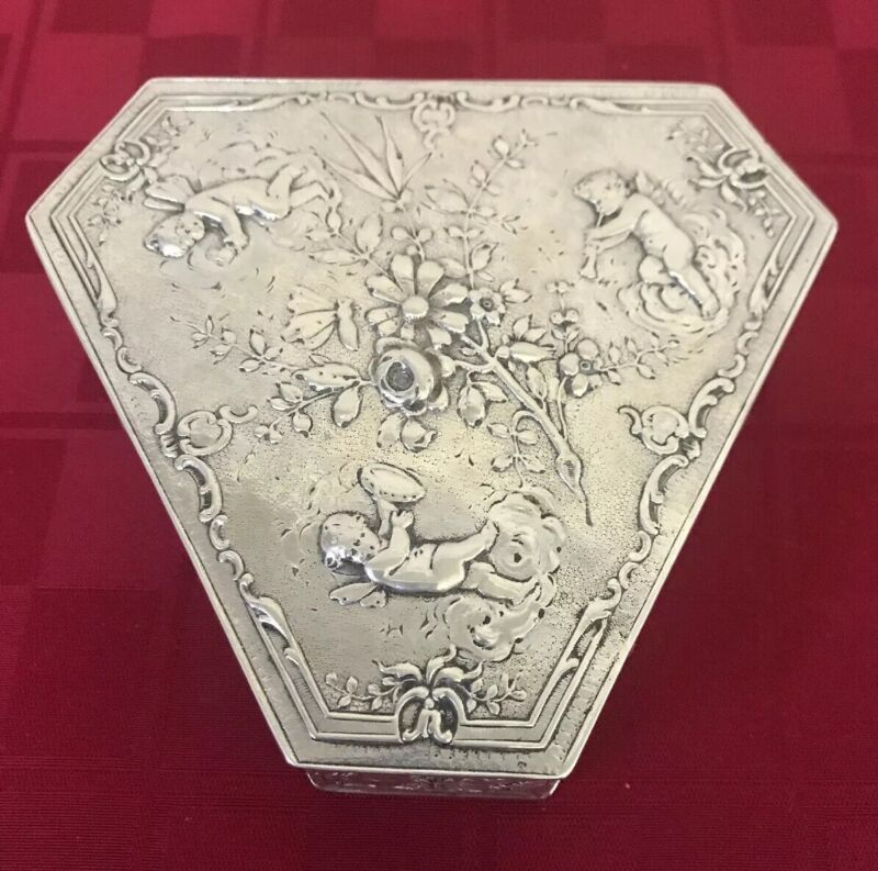 """Sterling Silver Angel Cherub Trinket Box Tea Caddy Hanau Storck & Sinsheimer 4"""""""