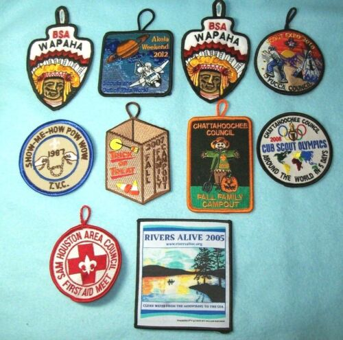 Lot of 10 Cub and Boy Scout patches various Councils