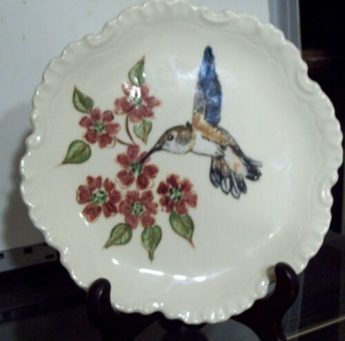 Lot of 2: Broad Tailed & Rufous Hummingbird Hand painted collector plates