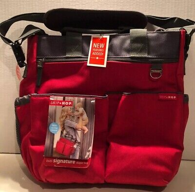 Skip*Hop Duo Signature Diaper Bag New w/tags Red/Grey w/stroller Straps Chg Pad